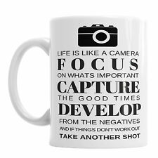 Life Is Like A Camera Novelty Coffee Mug Office Tea Cup Photography Photo Gift