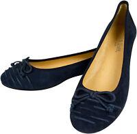 Ballerina Dunkelblau Navy Schleife Velours Leder Einzelpaar Größe 38
