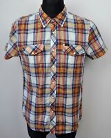LEE Western Funnel Pearl Popper Up Shirt Men's Large Cotton Check Short Sleeve L