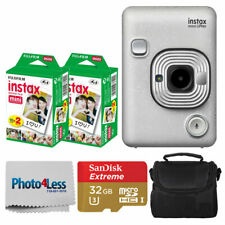 FUJIFILM INSTAX Mini LiPlay Hybrid Instant Camera (Stone White) + Valued Bundle!