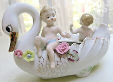 Vintage Planter Swan Bird Baby Cherubin Amour Nursery Roses Dish