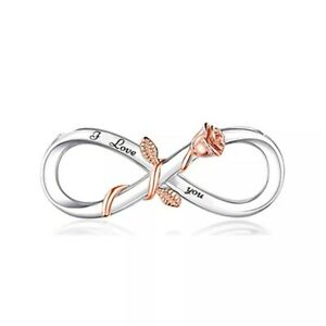 💖 Infinity I Love You Rose Charm Bead Genuine 925 Sterling Silver 💖