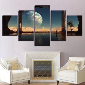 Planets Space Moon Abstract Painting 5 Panel Canvas Print Wall Art Home Decor