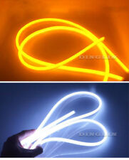 2X 60CM Dual Flexible Soft Guide Car LED Strip White DRL Amber Turn Signal Light