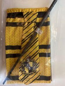 Harry Potter Hufflepuff scarf, tie and wand Fancy Dress  3 piece set BNWT
