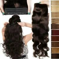 Wavy One Piece Soft 100% Remy Human Extensions Hair Weft 3/4 Full Head Brown USA