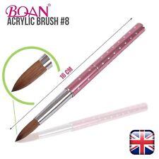 Pennello ACRILICO KOLINSKY Zibellino Capelli Liquido Polvere #8 Cristallo Rosa Maniglia in metallo UK