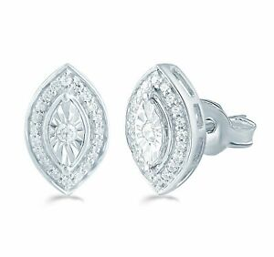 1/5Ct TW Diamond Marquise Cluster Studs in Sterling Silver