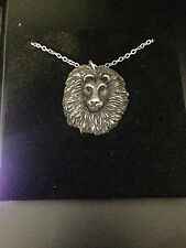 Lion Head Pewter Effect Animal 3D Pendant on Platinum Necklace Handmade 18 INCH