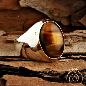 Unique Men Tiger Eye Simple Ring For Man Brown Stone Vintage Jewelry Masculine
