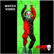 Animated Killer Clown Hanging Prop - Halloween Horror Decoration MOVING + SOUND