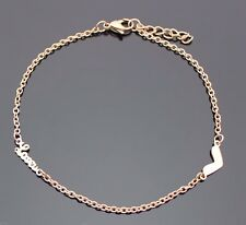 14K ROSE GOLD IP LOVE HEART BRACELET LADIES GIRLS WOMEN 27CM ANKLET 10.6""