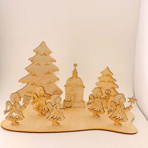 Weihnachtsplatte mit Engeln 9 Teile Holz Tischdekoration Weihnachten Sonderpreis