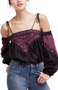 FREE PEOPLE Size S Vacay Vibin Embroidered Cold Shoulder Top Black