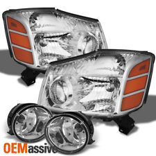 Fits 04-15 Titan 04-07 Armada Crystal Clear Headlights+Clear Fog Lights W/Switch