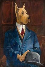 "GREAT DANE FAWN Gt. DANOIS DRESSED DOG COMIC ART PRINT ""Inspector Dogleash"""