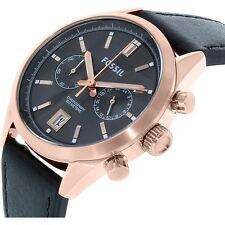 New Fossil Mens Watch Del Rey Rose Gold Tone Black Leather Strap Chrono CH2991