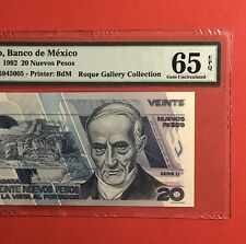 MEXICO- 1992 - 20 PESOS BANKNOTE,GRADED BY PMG GEM UNCIRCULATED 65 EPQ.VERY NICE