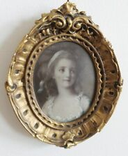 ANTIQUE MINIATURE PORTRAIT COLORED PAINTED PHOTO FRAMED GESSO OVAL FRAME