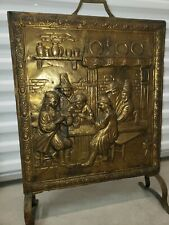 Antique 1850's Freestanding Copper Fireplace Pilgrim Family