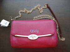 NWT COACH MADISON LEATHER CHAIN CROSSBODY BAG CRANBERRY 49738