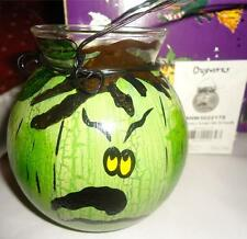 Blue Sky Clayworks 2004 Halloween Greeny Glass Lantern Retired Heather Goldminc