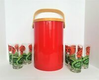 **RARE** MCM Georges Briard Glasses & Ice Bucket Set 60s RED POPPIES Flowers EUC