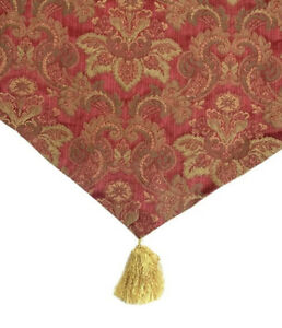 Luxury Croscill Bellissima Red Gold Ascot Valance Curtain Embroidered Tassel NWT