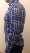 Ralph Lauren Blue & White Checked Linen Shirt Luxury Purple Label NEW Size M