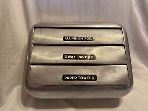 Vintage 1950s Metal Wax Paper, Aluminum Foil, Paper Towel Dispenser, Wall Mount