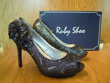Ruby Shoo Size 5 Ladies PEEP Toe Shoes High HEELS Pewter Brocade Fabric Donna