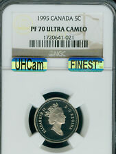 1995 CANADA 5 CENTS NGC PF70 UHCam MAC FINEST GRADED MAC SPOTLESS .