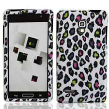 LG Optimus L9 Rubberized HARD Protector Case Phone Cover White Rainbow Leopard
