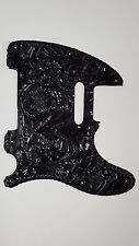 "Leather pick guard Custom Hand Tooled Leather Telecaster  ""Floral Riffs"" Black l"