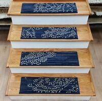 "Blue Transitional Stair Tread Set of 13 Non Slip Carpet Treads 26""x9"" Rug Depot"