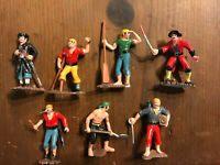 7 Louis Marx PIRATES Toy Play Figures, 1950s