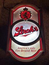 Vintage Advertising Strohs Fire Brewed Beer Light Up Sign Man Cave Bar
