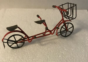 Fairy Garden Red Metal Bicycle Built for Two