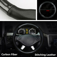 38cm Carbon Fiber + Black Leather Car Steering Wheel Cover  Protector Universal