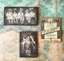 Dollhouse Antique Wall Art 1:12 black & white Victorian Photo ANGELS sign
