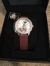 Ed Hardy Bird Watch By Christian Audigier With Swarovski Crystals, Leather Band