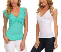 New Women's Juniors Summer V-Neck Top Basic T-Shirt w Ruffle Sleeves
