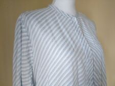 H&M Blouse Tunic Button Front Ruched Side Women's Size 12 Striped 100% Rayon
