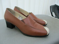 """clifford james""tan coloured shoes size 4 cuban heels"