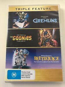 Gremlins Goonies Beetlejuice 3 DVD pack Spielberg Keaton Baldwin Ryder Davis