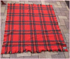 Vintage Retro Pure Lambs Wool Waverley Picnic Rug Red Yellow Tartan Chequered