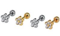 4mm Flower Crystal Barbell Stud Lip Bar Ear Tragus Conch Helix Cartilage Earring