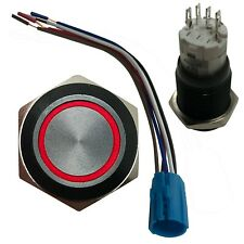 Red LED Black Metal Latching Push Button Switch On Off 12V 19 MM Mounting