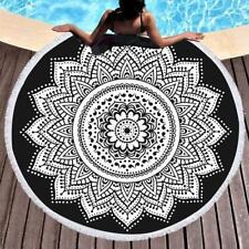 "Flower Mandala White Color Beach Towel 72""Inch Roundies  With Frinje Cotton Art"
