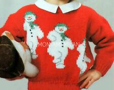 Knitting Pattern THE SNOWMAN Motif Sweater Jumper CHRISTMAS Childrens Girls Boys